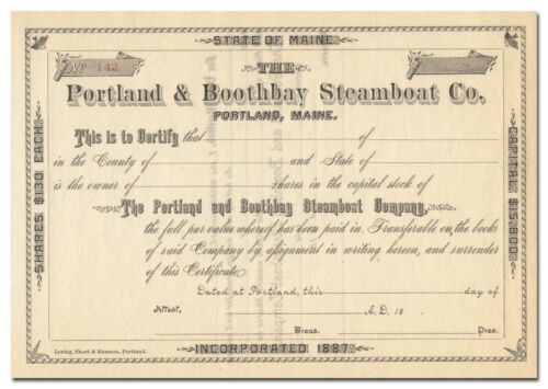 Portland & Boothbay Steamboat Company Stock Certificate (Maine, 1800