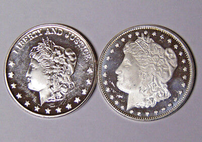 Lot of 2 Morgan Dollar Design 1 oz .999 Fine Silver Rounds (82718)