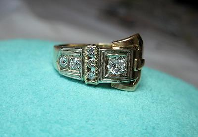 6 Diamond Art Deco Buckle Ring Wedding Engagement 14K Gold Belle Epoque Edwardia