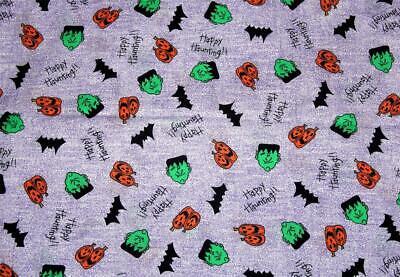 Halloween HAPPY HAUNTING Frankenstein Pumpkins Bats Purple Cotton Fabric BTY OOP - Halloween Frankenstein Pumpkins