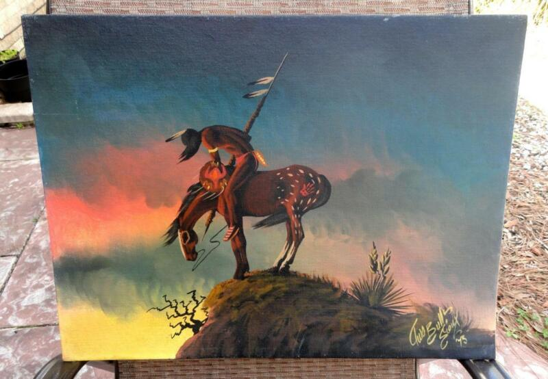 EDWARD E. JR. TWO BULLS American Western Sioux Indian END OF TRAIL Oil PAINTING