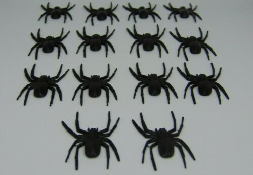 14 Plastic Fake Spider Toy Small Black Halloween Prank Funny Joke (USA Shipping)