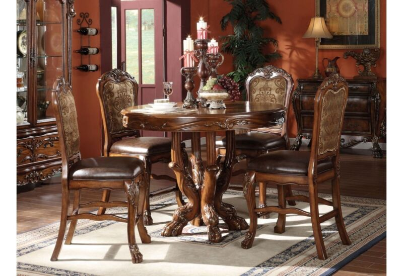 """Dresden Antique Style 5 Piece 48""""wood Counter Height Dining Set Cherry Oak Brown"""