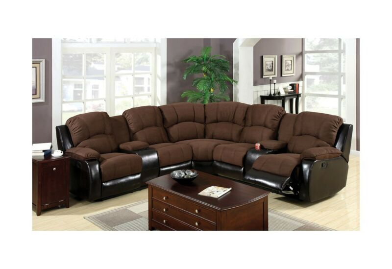 Transitional Brown Microfiber Leatherette Recliner Storage Sectional Living Room