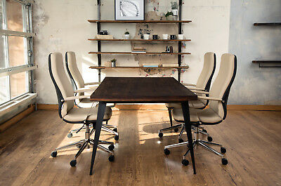 5 Ft Modern Real Wood Solid Wood Conference Table Or Desk With Metal Legs