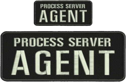 Process Server Agent Embroidery Patch 4x11AND 2X5 hook on back black/silver