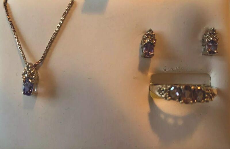 Vintage 3 Pcs Amethyst 10k White Gold Diamond Ring, Earrings,necklace Set
