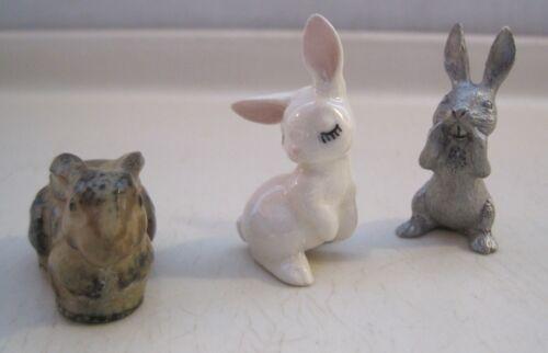 Lot of 3 Vintage Mini Rabbit Figurines Bunny 1 Pewter 2 Ceramic Miniature CUTE