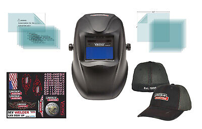 Lincoln Electric Viking 1740 Black Welding Helmet K3282-2 W Free Lincoln Hat