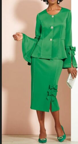 size XL Bows, Bows & Bows Green Skirt Skirt Suit by Ashro new