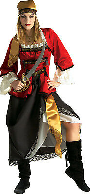 Deluxe Pirate Wench Kostüme (Pirate Queen Wench Maiden Lady Caribbean Dress Up Halloween Deluxe Adult Costume)