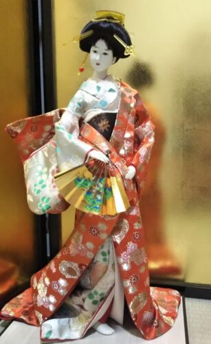 "Vintage Japanese Geisha doll in Kimono 23"" on wooden base Antique Orange"