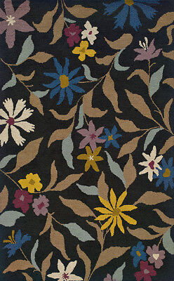 Blue Wool Bold Branches Flowers Transitional Area Rug Floral 87112 (Bold Branches)