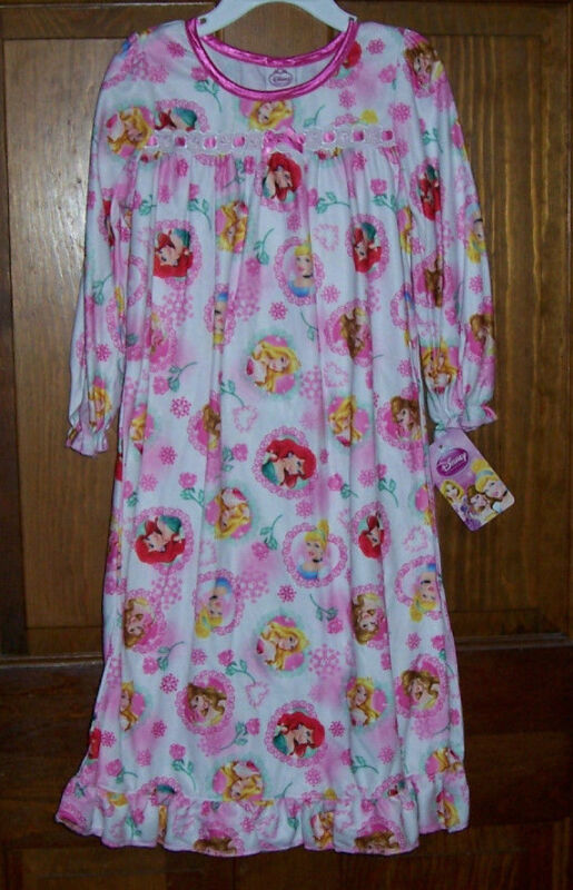 Disney Princess Toddler Girls Soft Flannel Granny Nightgown Pajamas Size 4T