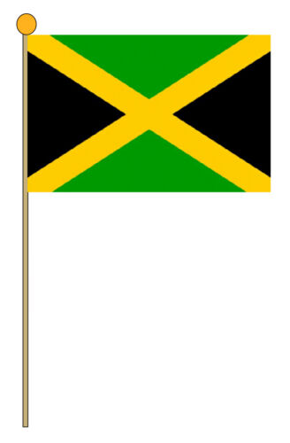 JAMAICA LARGE HAND WAVING FLAGS pack of 10 Jamaican Caribbean flag Kingston