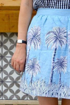 *J CREW* NWT NEW Linen Skirt in PALM TREE Blue Mini Blogger Fav SOLD OUT 2