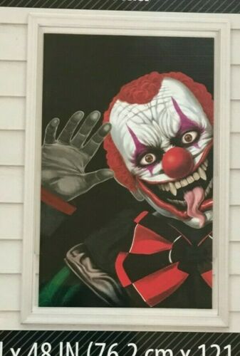 Halloween Joker Clown Window Cover Wall Poster 30x48 Scene Setter Prop