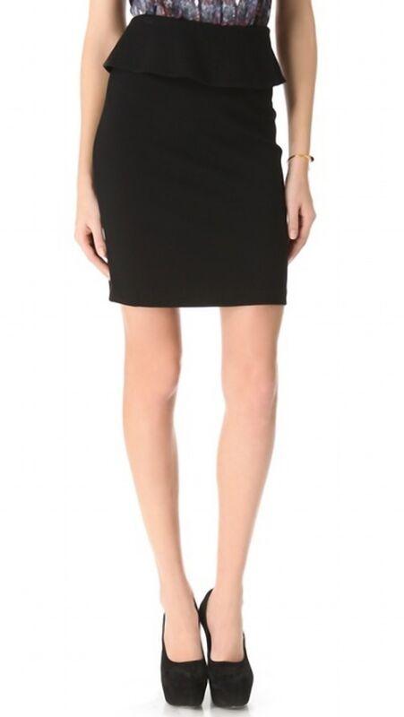 $170 THEORY 'Vantia' Black Peplum Mini Pencil Skirt sz 8 NWT