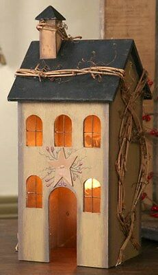 Tan Wooden Saltbox House Primitive Accent Light Lamp With Star Twig Accent 12 H