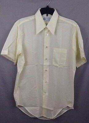 Vintage 70's Nerdcore Size 16 L Short Sleeve Yellow Dress Shirt Big Collar