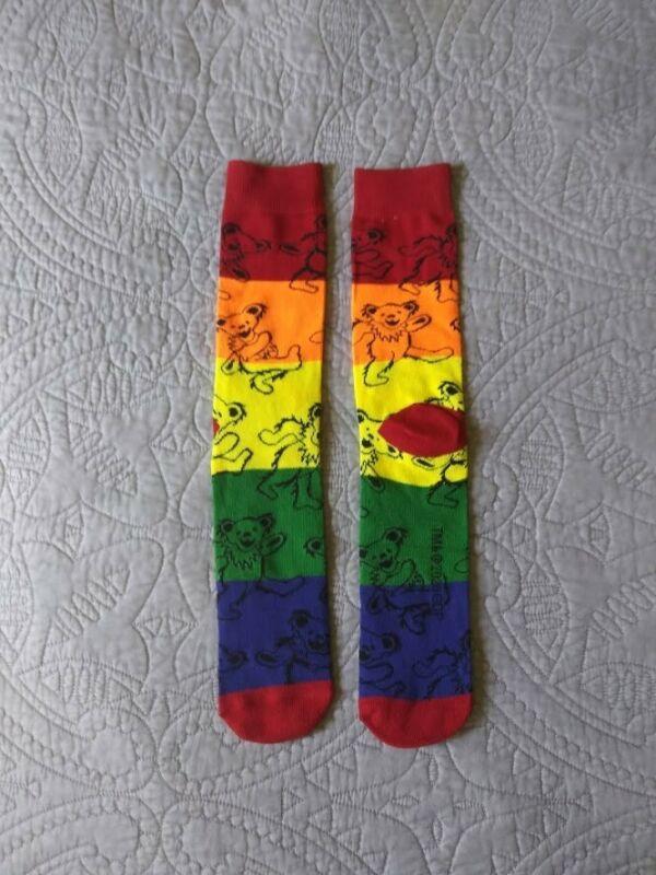 Grateful Dead Dancing Bears on Rainbow Striped Socks Jerry Garcia