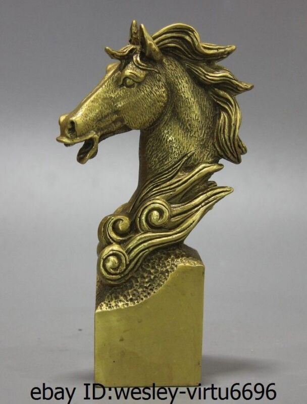 China Folk Brass Copper Fengshui Auspicious Zodiac Horse Head Statue Stamp Seal