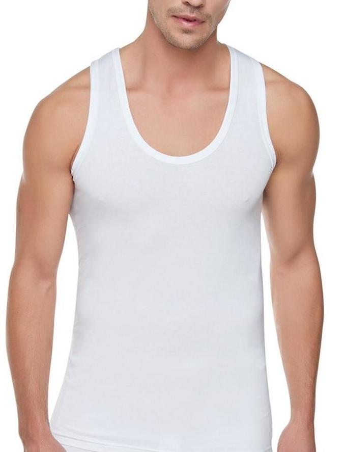 4x Herren Unterhemden Extralang 100% Baumwolle Feinripp Tank Top Achselhemd