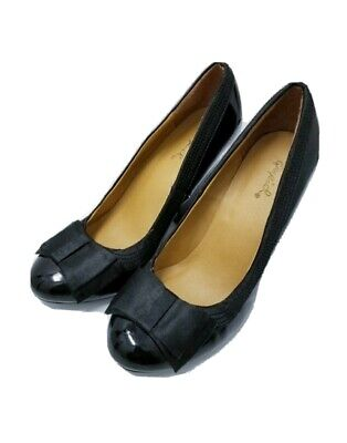 Qupid black bow heel shoes Size 7.5