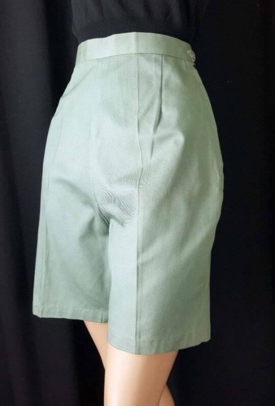 SAGE GREEN Vtg 1950s High Waist Cotton Pique Shorts Pants Side Zip NOS M-L 28