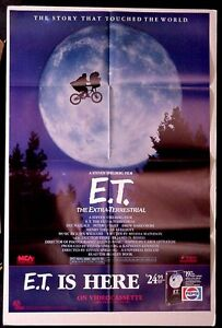 E.T. is Here Pepsi 1988 Video Laserdisk PROMO 1 sheet poster Bike over the moon