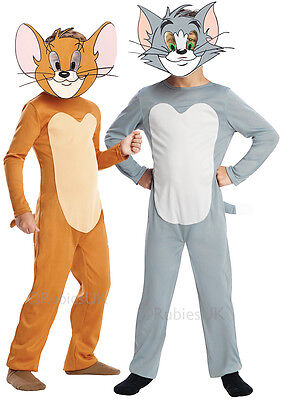 Cat And Mouse Costume (Boys or Girls Tom and Jerry 1960s Cartoon Cat Mouse Fancy Dress Costume)