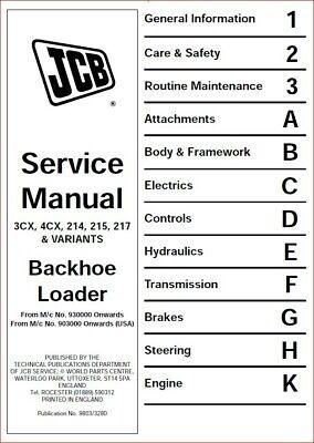 Jcb 4cx Backhoe Loader 903000 Onwards Repair Service Manual - Cd