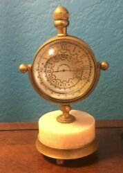 Vintage WEST END WATCH CO. Brass Magnifying DESK CLOCK Pink Marble Base Compass
