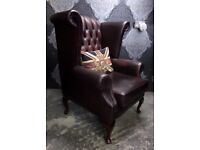 Beautiful Thomas Lloyd Chesterfield Queen Anne Wing Back Chair Oxblood Red Leather WIDE Delivery