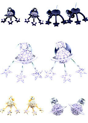 Crystal Planet Saturn and star (can be separate) stud earrings, multiple choices (Crystal Planet)