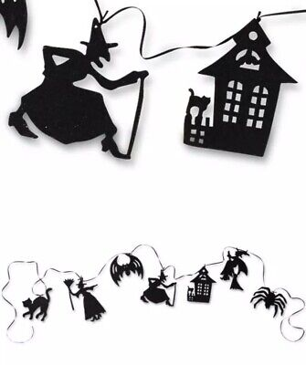 Bethany Lowe Halloween Silhouette Witch, Black Cat, Spider Garland—Retired