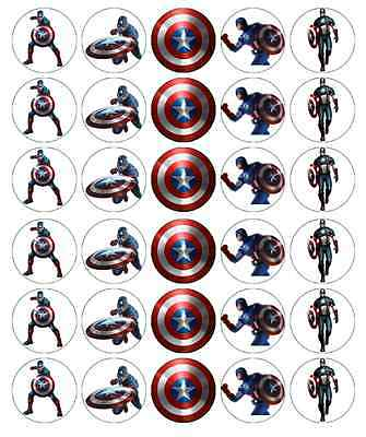 30 x Captain America Marvel Avengers Cupcake Toppers Edible Fairy Cake Toppers