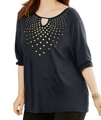 Just My Size Plus SIze 3/4 Sleeve Key Hole Top Shirt Tunic Top 1X  2X 3X 5X NWT