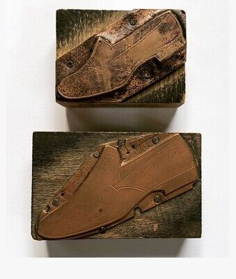 2 Vintage Letterpress Print Blocks Shoes Copper On Wood
