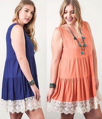 Lace Trim Tank Kleid (Kori America Plus Size Lace Trim Tank Dress * Tiered * Keyhole Back Boho PD1162)