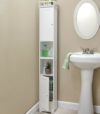 Slim Bathroom Cabinet - White color - Free shipping