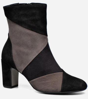 GABOR Damen Schuhe ECHT LEDER Edel Stiefelette Schwarz Grau Stiefel 2,5 Gr. 35