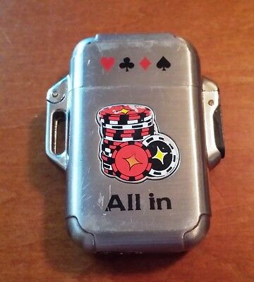 "Awesome 2"" Metal Souvenir Lighter ""All In"" Casino Theme"