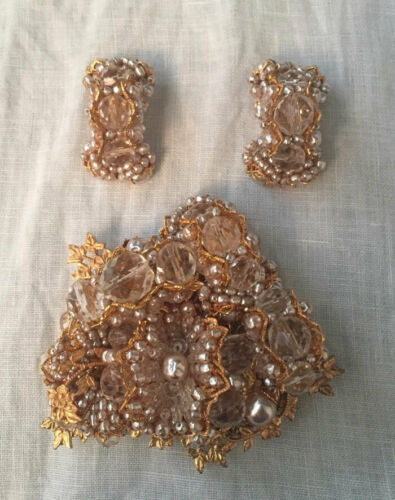 DELILLO champagne pearls & crystal brooch & earrings~SIGNED~VINTAGE COUTURE~T1