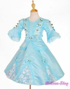 Girls-Blue-Vintage-Victorian-Party-Princess-Costume-Dress-Toddler-Sz-3T-4T-VD002