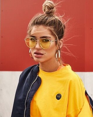 Choose your colour Tinted Lens Sunglasses : pink, yellow, baby blue, (Yellow Tinted Aviators)