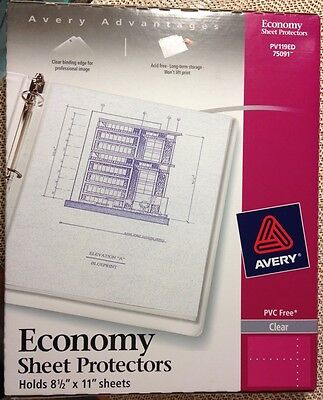 Avery Page Sheet Protectors 8.5 X 11 3 Ring Clear Qty 40 75091