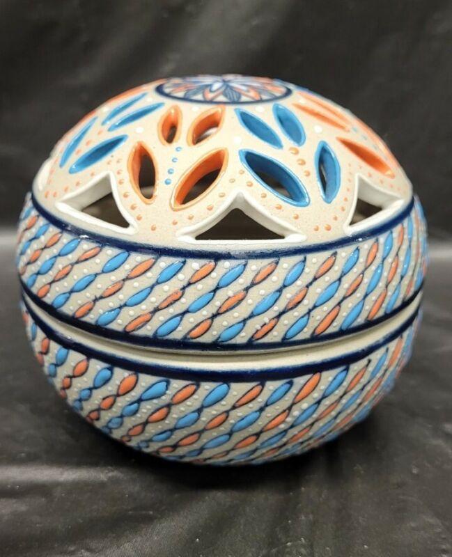 Javier Servin Signed Ceramic Pottery Trinket Box w Lid Mexico