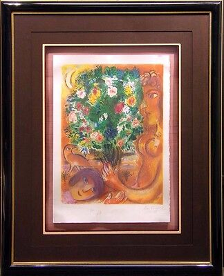 "Marc Chagall ""Woman with Bouquet""from Nice& Cote D'Azur Suite framed Hand Signed"
