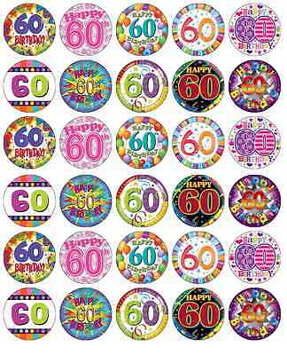 30 x 60th Birthday Edible Cupcake Toppers Wafer Paper Fairy Cake Topper (60th Birthday Cake Toppers)